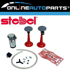Compact Twin Trumpet Red Car Air Horn Kit 12v 115db Relay Stebel Italian Design
