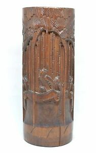 Vintage Chinese Bamboo Carved Brush Pot 7 Tall