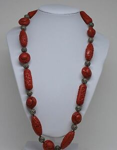 Vintage Chinese Silver And Cinnabar Necklace 24 Inches Long Marked 925