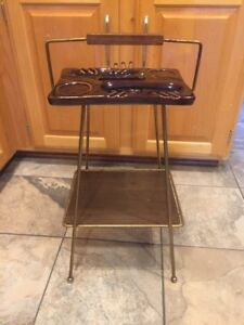 Mid Century Modern Smoking Stand With Brown Glazed Pottery Ashtray 24 Tall