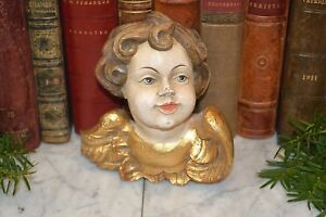 Vintage German Carved Wood Large Cherub Angel Head With Wings Painted And Gilded
