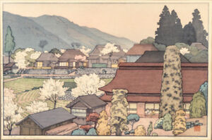 Village Of Plums By Toshi Yoshida Pencil Signed 1951 Japanese Woodblock Print