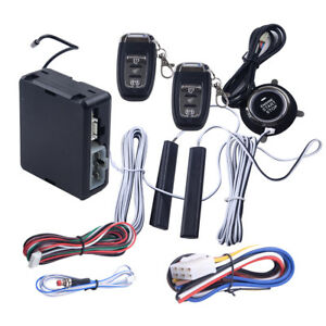 Pke Passive Keyless Entry Car Remote Engine Start Push Button Alarm System Set