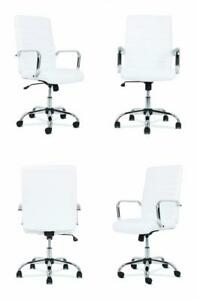 Hon Sadie Executive Computer Chair Fixed Arm For Office Desk White Leather Wit