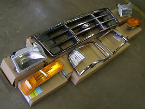 Nos 1992 1996 Ford Truck F150 Bronco Grille 1993 1994 1995 Headlights Oem