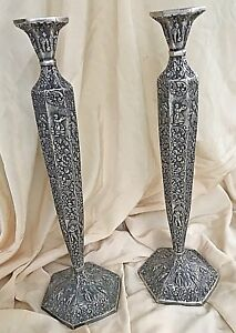 Antique Candlestick Holders Dutch Repousse Silver Plate 17 25 Tall Set Of 2