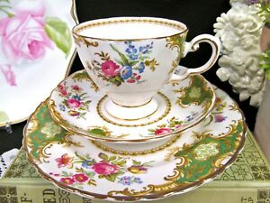 Tuscan Tea Cup And Saucer Green Rose Windsor Trio Teacup Floral Bouquet