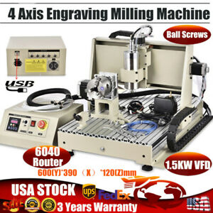 Cnc 6040 4 Axis Usb Router Engraver Engraving Drilling Milling Machine 1 5kw Vfd