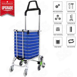 Folding Stairs Double Handle Shopping Cart With 8 Wheels Oxford Cloth Bag New