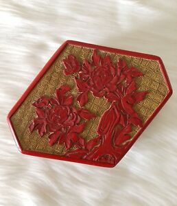 Fine Vintage Chinese Cinnabar Lacquer Peonies Trinket Box With Lid