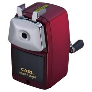 Carl Angel 5 Premium Hand cranked Pencil Sharpener A5pr r Red Made In Japan F s