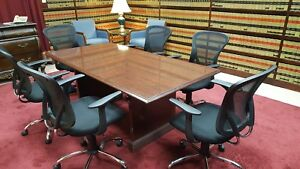 Traditional Conference Table Cherry Wood Veneer
