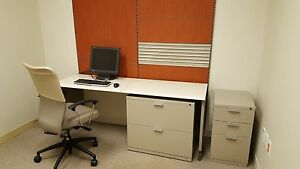 Herman Miller Modeern Desk With Lateral File Cabinet And Pin Board