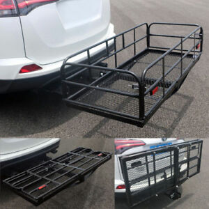 60 Folding Cargo Carrier Luggage Basket Mounted Rack 2 Receiver Hitch 500lbs