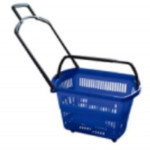 Heavy duty Set Of 3 Blue Grocery Shopping Carts Retail Grocery Baskets