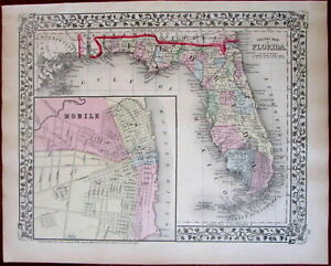 Florida State W Large Mobile Al Inset City Plan 1874 S A Mitchell Map