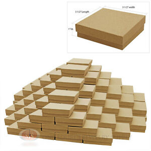 100 Kraft Cotton Filled Jewelry Cardboard Gift Boxes 3 1 2 X 3 1 2