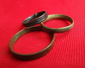 Ancient Roman Wedding Rings Lot With 3 Pieces Bronze No 9