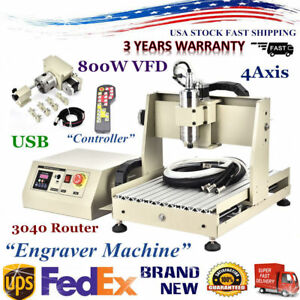 Cnc3040 4axis Router Engraver Engraving Drilling Milling Machine 800w Handwheel
