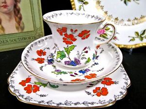 Tuscan Tea Cup And Saucer Butterfly Floral Pattern Teacup Trio Fancy Cup
