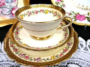 Tuscan Tea Cup And Saucer Painted Fruits Gold Greek Key Pattern Teacup Trio