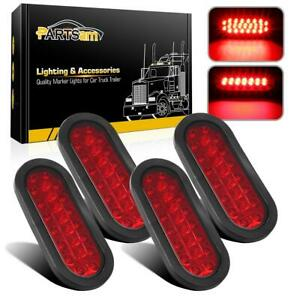 4x6 Red 23led Oval Trailer Lights Stop Turn Brake Marker Tail Lamps Flush Mount