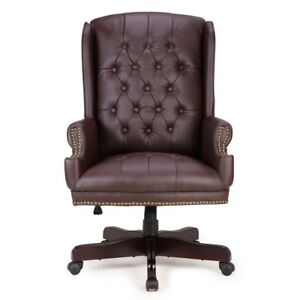 Wingback Traditional Executive Office Chair Button Tufted W faux Leather Brown