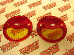 1928 1929 1930 1931 Ford Model A Glass Tail Light Lens Pair Coupe Sedan Roadster