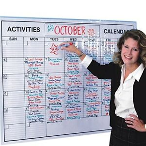 Wall Calendar Laminated 37in By 49in Lightly Lined Wet erase Markers Reusable