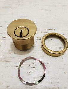 Schlage Primus Mortise Cylinder W Rim Polished Brass Finnish No Key