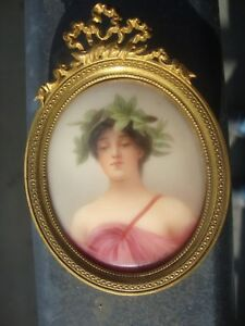 Antique Dresden Portrait Porcelain Plaque Painting Wagner