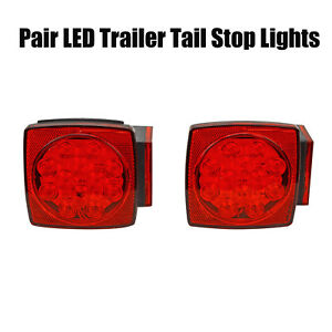 2x Under 80 Red White Led Submersible Sq Trailer Stop License Tail Brake Lights