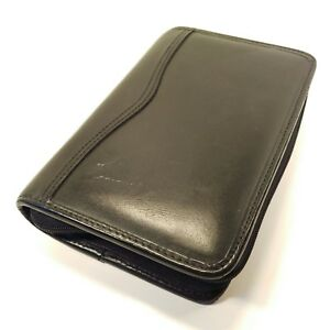 Day timer Portable Black Leather Zip Planner Daytimer Fits Filofax Personal