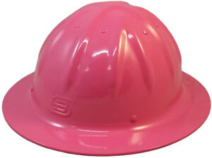 Skull Bucket Aluminum Pink Full Brim Safety Hard Hat 4 Point Ratchet Suspension