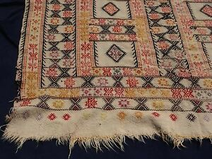 Pre 1900 Tribal Handmade Shahsavan Embroider Tapestry Needlepoint Sofreh Rug 5x7