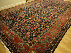 Large Realpersian Malayer Mahal Multi Colored Wool Allover Navy Maroon Rug 11x17