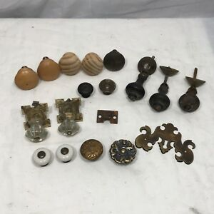 Vintage Antique Glass Wood Drawer Cabinet Knobs Pulls Lot Of 16