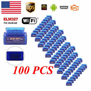100x Mini Elm327 V2 1 Obd2 Obdii Bluetooth Adapter Auto Scanner Torque Android W