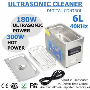 Stainless Steel 6l Liter Industry Heated Ultrasonic Cleaner Heater W timer New R