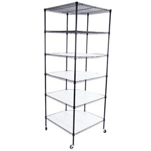 6 Tier Shelf Corner Shelving Wire Metal Rack Storage Organizer Heavy Duty