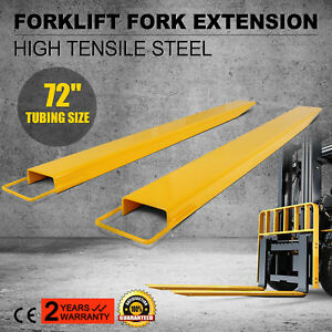 72 X 5 9 Forklift Pallet Fork Extensions Pair Slide Clamp Industrial Lifting