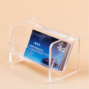 10pcs Crystal Acrylic Business Card Display Stand Holder Desktop Countertop Name