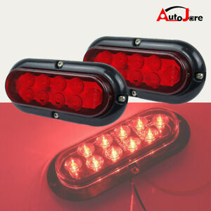 2x Red Led 6inch Oval Trailer Truck Stop Turn Backup Tail Light Flush Mount Lamp