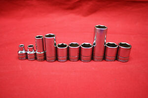 Sk Tools Lot Of 10 Sockets 3 8 Drive Sae Metric Deep Shallow Sockets