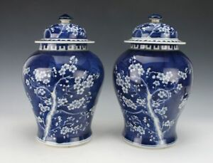 Gorgeous Pair Of Large Antique Chinese Blue And White Ginger Jars 14