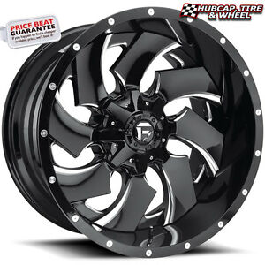 Fuel Offroad D239 Cleaver 2 piece 24 x14 Gloss Black Milled Wheels Rims Set Of 4