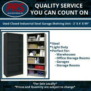 Used Closed Industrial Steel Garage Shelving Unit 2 X 4 X 99