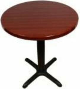 Restaurant Equipment New 24 Round Table And Base Reversible Top Mahogany black