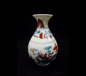 Fine Old Chinese Doucai Painting Dragon Porcelain Bottle Vase Chenghua Mark