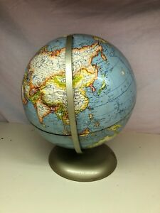 Old Vtg Desktop School Earth Rotating Globe Bulgaria Yugoslavia Romania